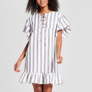 Gray Striped Ruffle Dress Size Xs
